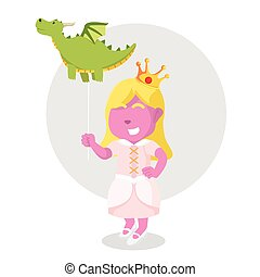 pink princess with holding dragon balloon