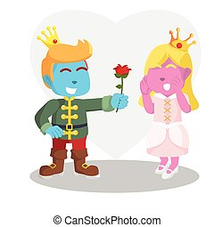blue prince gives flower to pink princess