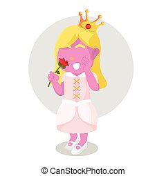 pink princess holding flower