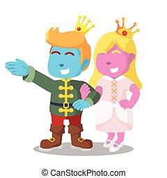 Cor-de-rosa, azul, princesa, segurando, mão, príncipe