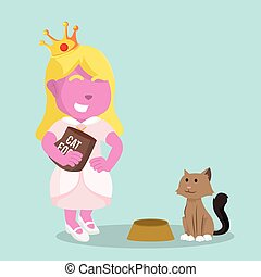 pink princess giving food to cat