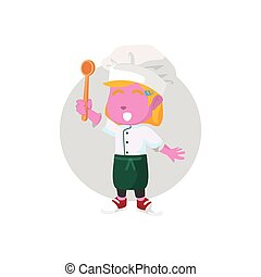 pink chef girl holding spoon