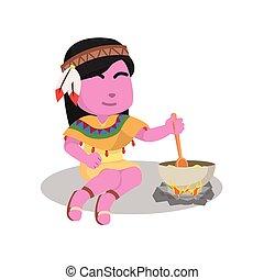 pink indian girl stirring porridge