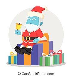 blue santa sitting on christmas box