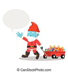 blue gnome pulling a cart full of christmas gift
