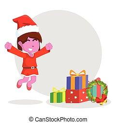 pink girl jumping to christmas box