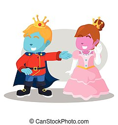 blue king and pink princess