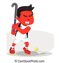 red field hockey player ready to shoot