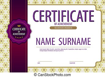 Vintage Blank Certified Border Template With Purple Ribbon Vector Illustration