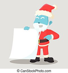 blue santa clause holding blank paper