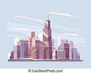 City landscape with skyscrapers