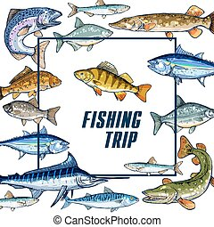 Vector poster template for fishing trip sketch - Fishing...