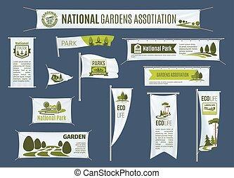 Vector banners, flags set of gardening association - Gardens...