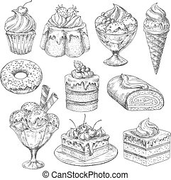 Vector desserts and cakes for bakery sketch icons - Bakery...