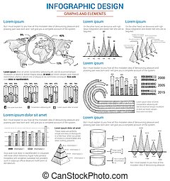 Vector sketch graphs and elements for infographics