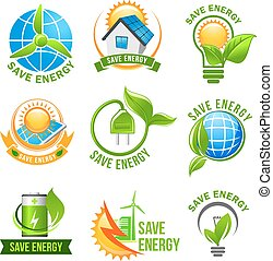 Eco green energy icon set for ecology design