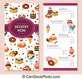 Vector menu template for bakery desserts cakes - Bakery...