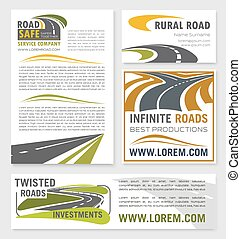 Vector banners for road construction investment - Road...