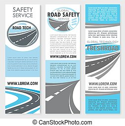 Vector safety road construction service banners - Road...