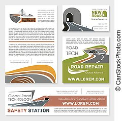 Vector safety road construction service posters - Road...