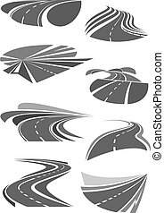 Vector icons of road lanes and highway symbols - Road and...