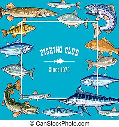 Vector sketch poster template for fishing club - Fishing...