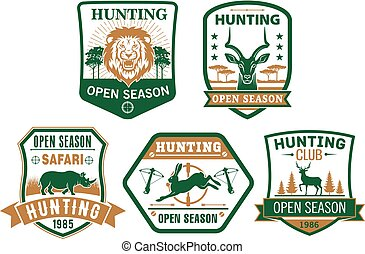 Hunting club hunt open season vector icons badges