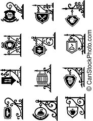 Shop signages hanging metal retro vector icons