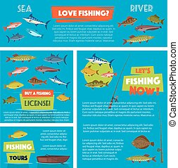 Vector poster for fishing club trip - Fishing vector posters...