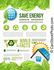 Vector ecology and environment energy infographics - Ecology...