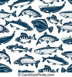 Fishes sketch seamless vector pattern - Fish seamless...