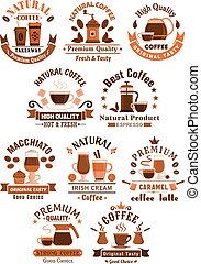 Coffee vector icons for cafeteria or cafe - Coffee shop,...