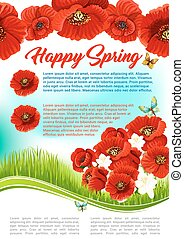 Vector poster for happy spring holiday greetings - Happy...