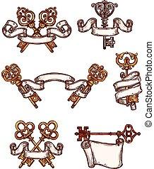 Vintage keys vector icons sketch decor set - Vintage...