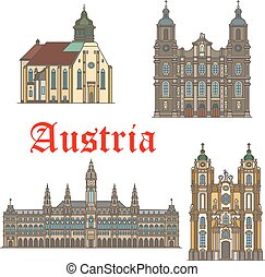 Architecture landmarks of Austria vector icons - Austria...