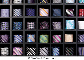 Wall of ties - Wonderful background shot of a multi-coloured...
