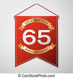 Red pennant with inscription Sixty five Years Anniversary...