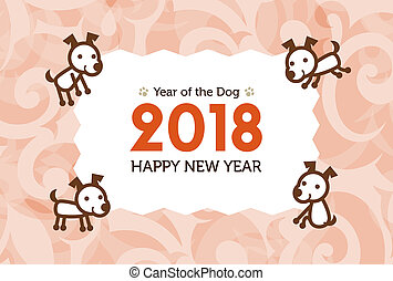 犬, イラスト, 年, 新しい,  2018, カード, 幸せ