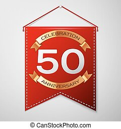 Red pennant with inscription Fifty Years Anniversary Celebration Design over a grey background. Golden ribbon. Colorful template elements for your birthday party. Vector illustration
