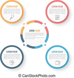 Circle Infographic Template with Four Elements - Circle...