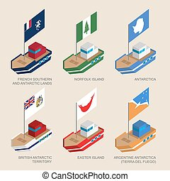 Set of isometric ships with flags of countries and...