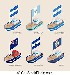 Isometric ships with flags: Honduras, Guatemala, Salvador, Nicaragua, Belize