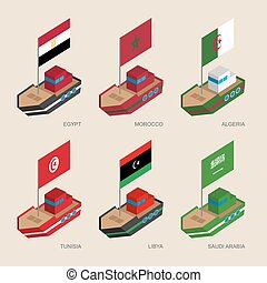 Set of isometric ships with flags of Middle East countries