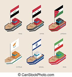 Isometric ships with flags: Iraq, Iran, Jordan, Syria, Cyprus, Israel