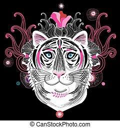 Vector portrait of a fantastic tiger