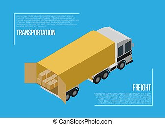 Transportation freight concept with cargo car