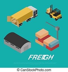 Freight shipment isometric banner vector illustration....