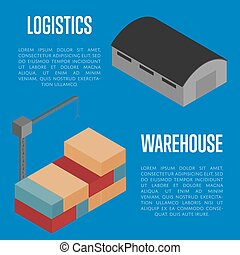 Warehouse logistics isometric banner vector illustration....