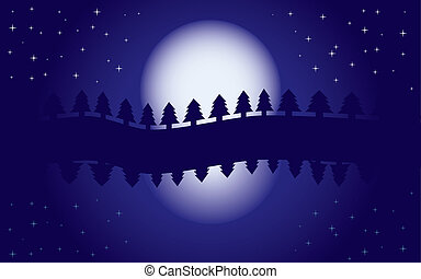 Romantic night landscape, reflection of moon in water, starry night, blue wallpaper, vector illustration