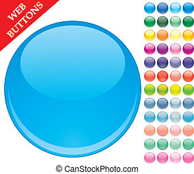 Set of 49 colored glass buttons, glossy icons, web spheres, vector illustration